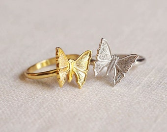 small butterfly ring . stackable butterfly ring . butterfly stacking ring . butterfly jewelry . silver butterfly ring // 4LBFL
