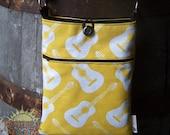 Guitar Print Cross Body Shoulder Bag in Yellow