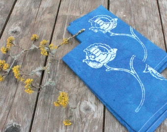 set of two royal blue peony napkins
