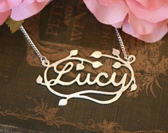 Handmade Silver Decorative Name Necklace - Leaves