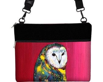 Clara Nilles Pink Laptop Bag Women, Macbook Air 13 Sleeve, 13 inch MacBook Case Pro  -  Cute Owl Bag Barn Owl yellow green blue MTO