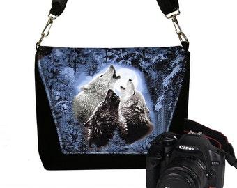 CLEARANCE Unisex Camera Bag Dslr Camera Case Canon Nikon Slr Bag for Men & Women, Wolf Wolves Howling Moon Messenger Bag blue black gray MTO