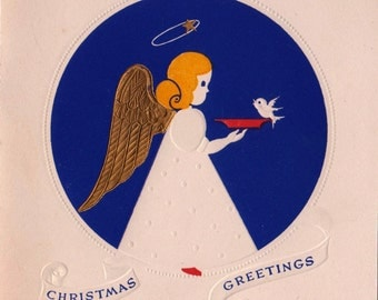Vintage UNUSED Christmas Greetings Angel Cherub and Bird Greetings Card (B3)