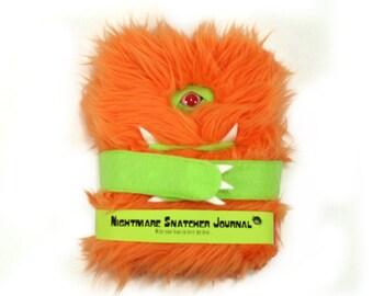 Nightmare Snatcher children's fuzzy monster journal, orange green monster book Lomper