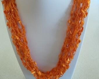 Orange Necklace Crochet Ladder Lace Necklace Trellis Ribbon Lace Fiber Yarn Pumpkin Spice Orange