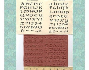 Uncial Celtic Font Alphabet Unmounted Rubber Stamp Set Upper and Lower Case Irish Book of Kells