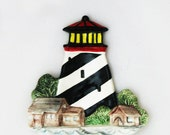 Lighthouse Ceramic Tea Bag Holder or Small Spoon Rest Catch All Nautical Collection for Seaside Beach Cottage