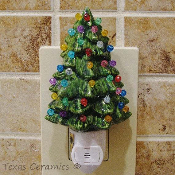 little green ceramic christmas tree night light color globes on light sensitive automatic switch stocking stuffer holiday gift - Christmas Tree Night Light