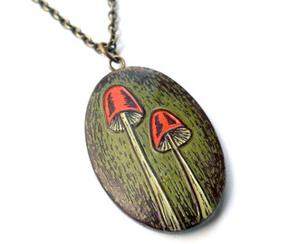 Rustic Woodland Mushroom Necklace, Retro Orange and Green Mushroom Pendant, Oval Pendant, Toadstool Necklace, Mycophile Gift, Gift for Her