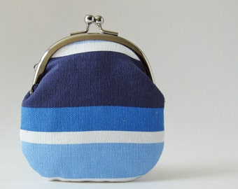 kiss lock coin purse nautical stripes navy blue light blue white marine blue change purse blue coin purse striped coin purse summer