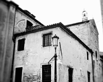Venice Italy photography, black and white europe photograph, architecture, travel, lamp post, black decor V07