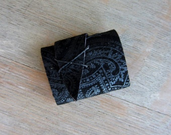 Mini Blank Book, Upcycled Black Paisley Leather Long Stitch, Ready to Ship