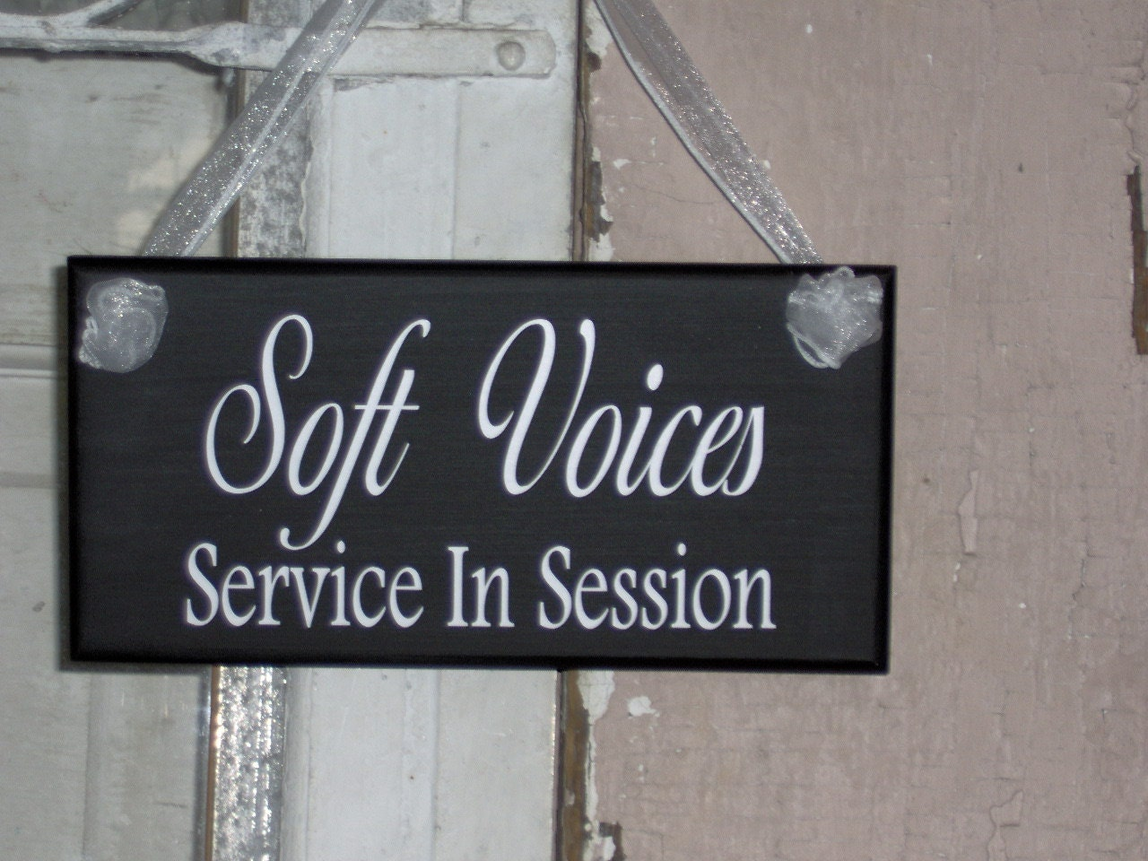 soft voices service in session wood vinyl sign home business