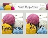 pre-made yarn / knitters banner package and business card  - reserved for SheKnitsKnits