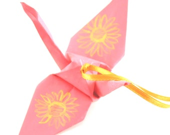 Gold Sunflower on Pink Origami Crane Ornament, Handpainted