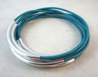 Turquoise Leather Bangles. Set of 7.  Gifts for Her. Under 25.