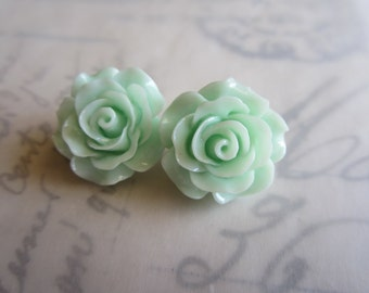 Seafoam Green Clip On Earrings