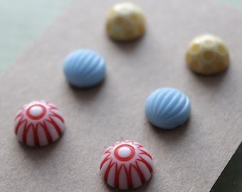 Post Earrings - 3 pairs - Vintage Plastic and Glass - Surgical Steel - Yellow, Light Blue, Red Mix