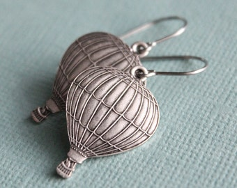 Antiqued Silver Hot Air Balloon Earrings - Surgical Steel Earwires