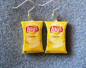 Lay's Classic Potato Chips Kitsch Dangle Polymer Clay Junk Food Earrings Hypo Allergenic Nickle-Free