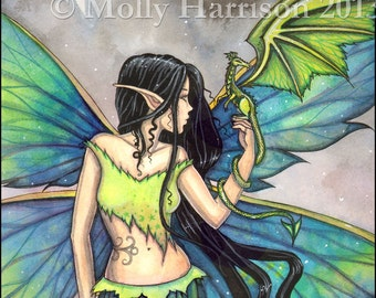 Emerald Dragon Fairy Fantasy Fairies Fine Art Archival Watercolor Print by Molly Harrison - Faery, Gothic Fantasy Illustration