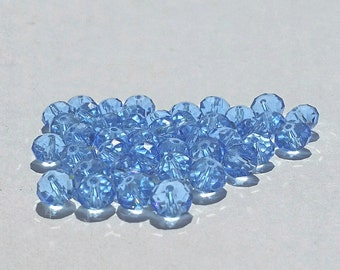 Glass Beads - 42 pcs - Baby Blue - Faceted - 8mm x 6mm - Rondelles