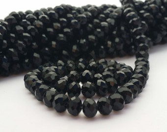 Glass Beads - 42 pcs - Black Beads - Faceted - 6mm x 4mm - Rondelles - Black faceted Beads