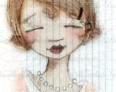 Print of my digitally enhanced sketch - Sketchbook Girl 9.25.14