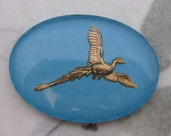 vintage reverse painted intaglio pheasant bird in flight cabochon 25x18mm - f4196