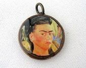 Lucky Penny Charm Pendant - Frida Kahlo Pendant - Luck penny charm- Charm only