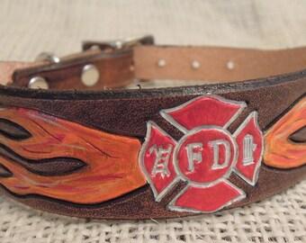 Firefighter - Leather - Dog Collar - Maltese Cross
