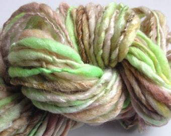 Handspun Yarn Thick and Thin -EARLY SPRING - bulky, merino bamboo, crochet, weaving, knit, craft supplies, yarn,56yds