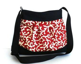 Shoulder bag ,vegan messenger bag  ,  cotton crossbody tote bag , women cross over bag in burnt orange , cross body purse