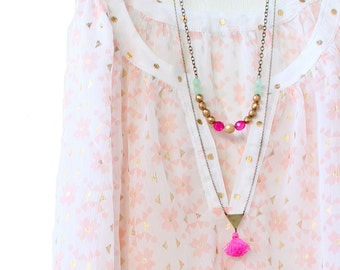 Long Double Strand Bead and Tassel Necklace