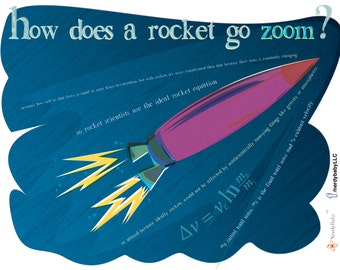 "What makes ROCKETS GO ZOOM?  (it's complicated) Art print, 8x10"" signed Flight series for your favorite science or engineering nerd"