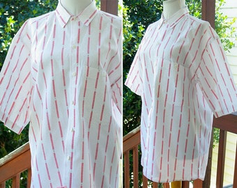 Say ANYTHING 1980's Vintage White + Red Striped Button Down Shirt with Grey Specks // size Medium