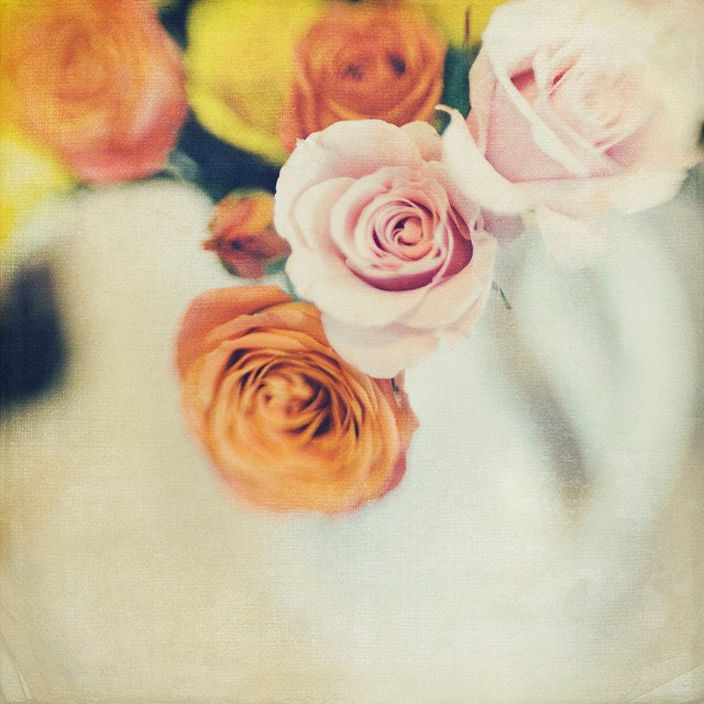 Pink Orange Spring Roses, 8x8 Photo, Bokeh, Modern Wall Decor, Home Decor, Fine Art Phtography, gallery32 etsy