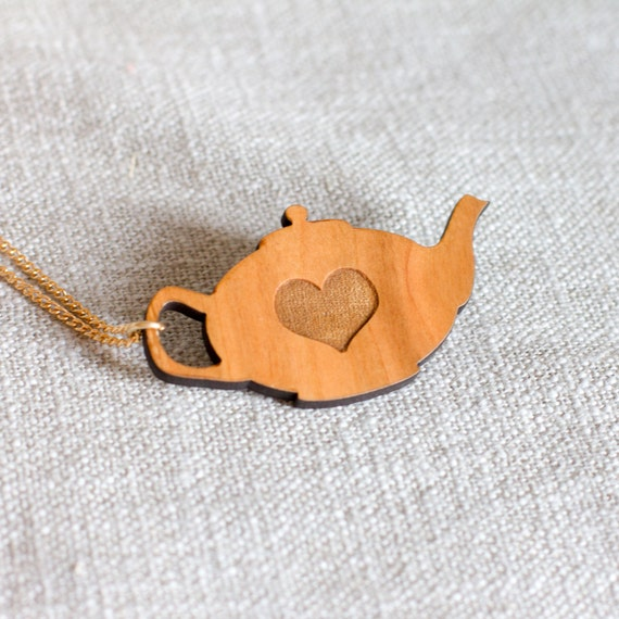 Teapot necklace tea love heart laser cut wood jewellery