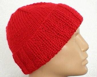 Red watch cap, slouchy hat, brimmed beanie, hunter, seafarer cap, toque, ski snowboard, biker runner hiker, red hat, mens womens hat, chemo