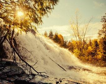 Bond Falls - Autumn Photography, Fall Landscape, Warm Tones, Michigan, Nature, Sunset