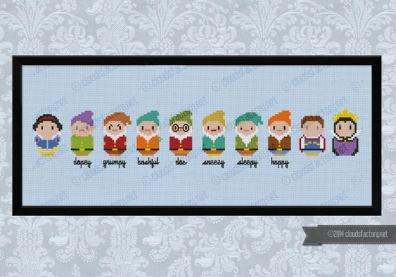 Snow White and the Seven Dwarfs parody - Cross stitch PDF pattern