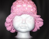 Crochet Toddler Bonnet, One Size Fits Most, Soft Pink