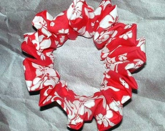 Tropical Hibiscus Hair Scrunchie, Ponytail Holder, Beach/Pool Hair Tie, Island Hot Pink