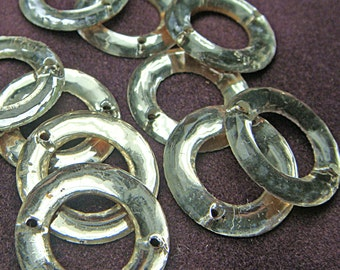 "Mirrored Glass Sew On Ring Doughnut Trim 15 mm 3/4"" Circle (Lot of 50) Vintage Clear Crystal Bead Foil Flat Back jc 15soring MORE AVAILABLE"