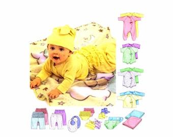 Infants Coveralls Top Bodysuit Pants Diaper Cover Bootie Bib Hat McCalls 3665 Sewing Pattern Newborn - Small - Medium - Large UNCUT