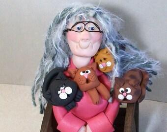 Crazy Cat Lady Figurine