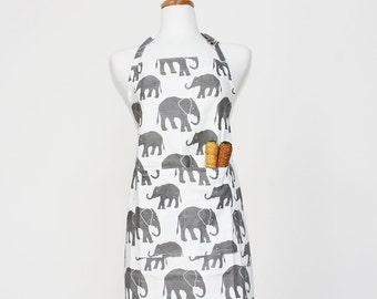 Grey Elephant Adult Apron - Kitchen Apron - Adult Cotton Apron with Elephants - Adult Organic Apron - GOTS Certified