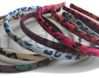 6 leopard headbands in technicolor // skinny headbands or alice bands // one of each or pick your colors