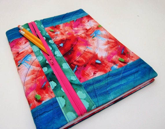 Book Cover Watercolor Zipper ~ Composition book cover fabric w zipper pocket by dailythreads