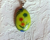 Handpainted Floral Yellow and Blue Fused Glass Pendant Necklace